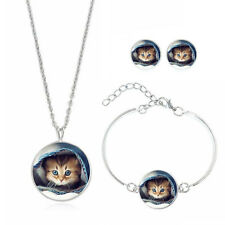 Set Glass Cabochon Jewelry Earring Pendant Choker Necklace Bracelet Cat's Face