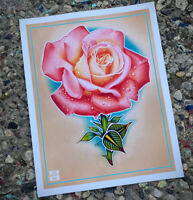 Illustrative Tattoo Rose 1 - Colored Pencil / Paint Marker Fine Art Poster Print