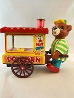Nomura Japan Vintage Battery Operated Toy Jolly Popcorn Vendor Bear Works Boxed