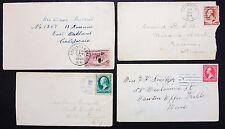 4 Old US Postage Cover Fancy Cancel Color Stamp 2c 3c Amerika Brief (Lot-7312