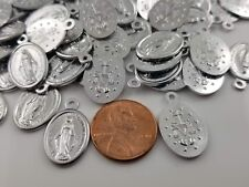 100 pcs of Catholic Virgin Mary Miraculous Medal Oval Pendant Charm Tiny 20x13mm