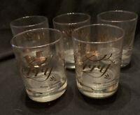 Vintage AMC NY Japan Lowball Glasses  Gold Merry Christmas Set of 5 EUC