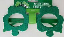 St Patrick's Green Glitter Shamrock Glasses