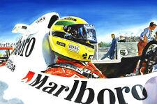 Ayrton Senna McLaren Honda Formula 1 Helmet Cockpit F1 Race Car Art Print Poster
