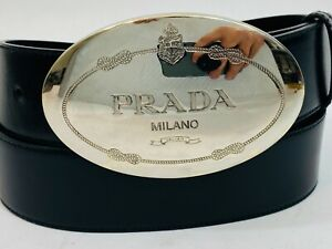 Auth Prada Belt Round Logo Plate Saffiano Leather Black Belt Women's 34 / 85