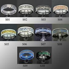 Blue Tungsten Carbide Ring Carbon Fibre Black Celtic Dragon Men's Jewelry