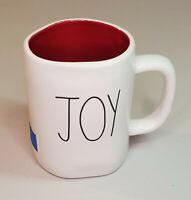 "Rae Dunn by Magenta Holiday Christmas White ""JOY"" & Stocking Pic Coffee Mug  NEW"