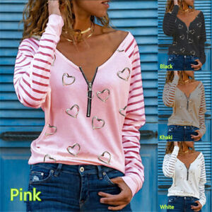 Plus Size Womens Zipper V-neck Tops T-Shirt Ladies Casual Heart Print Blouse Tee
