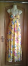 Tsega Long Strappy Chiffon Dress Yellow Floral S/M Beach Party Occasion