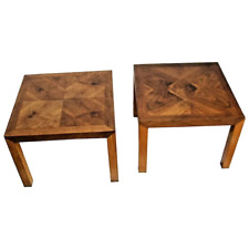Vintage Pair of Lane Alta Vista Nightstands Lamp Tables Geometric Solid Walnut