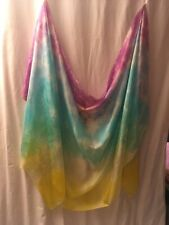Belly dance costume  veil silk hand-dyed in US:    pastel rainbow