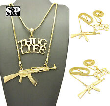 "Hip Hop Rapper's Swag Thug Life, Gun Pendant w/ 24"",30"" Box Chain 2 Necklace Set"