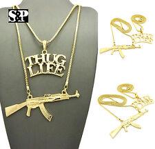 "Hip Hop Rapper's Swag Thug Life, Gun Pendant w/ 24"",30"" Box Chain 2 Necklace Set"