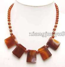 """agate With 6mm agate 17"""" necklace-976 Sale Genuine 20*25mm Red Trapezoid natural"""