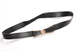 Everyday Rocker Girly Simple Black Elastic Belt w Rose Gold Bow in Front (S461)