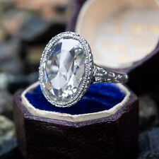 2.98 Ct Rose Cut Oval G-J White Moissanite Engagement Ring 925 Sterling Silver 7