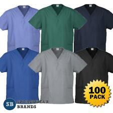 100 x Mens Ladies Unisex Scrub Top Nurse Doctors Medical Uniform Work H10612