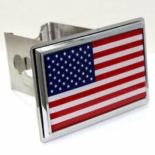 """USA American Flag Tow 2"""" Receiver Hitch Cover Real Stainless Steel Plug"""
