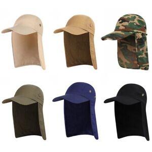 Women Men Anti-UV Fishing Cap With Ear Neck Cover Flap Quick Dry Fabric Sun Hat