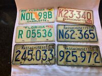 LOT OF 6 FLORIDA AND  MASSACHUSETTS LICENSE PLATES VINTAGE RED GREEN BLUE