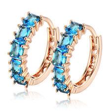 Deluxe womens gold filled hoop earrings blue crystal small earings 28mm