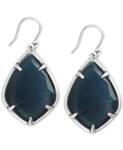"""Lucky Brand Silver-Tone Black Mother-of-Pearl Drop Earrings 1 2/3"""" $35.00"""