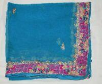 Vintage Ethnic Peasant Dupatta Long Stole Chiffon Silk Veil Hand Beaded Tie & Dy