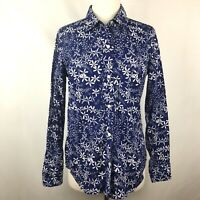 Vineyard Vines Women's Long Sleeve Button Up Blue White Floral Oars Rowing Sz 6