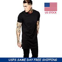 Fashion Men Short Sleeve Long Size Extended Hip Hop T-Shirt Zipper Streetwear