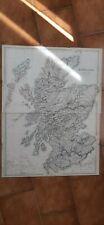 SCOTLAND-SCOZIA-EDIMBOURGH-GLASGOW-BIG COLOR OLD MAP - 1800!