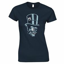 Skull Womens TShirt Undead Head With Top Hat Skeleton Wearing A Monocle