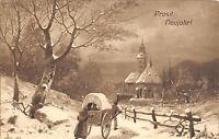 BG8739 chariot  winter landscape   neujahr new year greetings germany