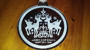 HANGING MIRROR CHRISTMAS ORNAMENT with REINDEERS