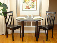 3 Pc Dining Room Dinette Kitchen Set Round Table and 2 Warm Chairs Espresso