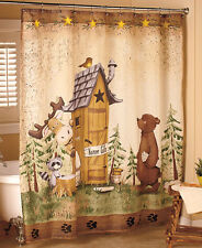 Shower Curtain Nature Calls Bathroom Outhouse Decor Bear Cabin Bath Lodge Moose