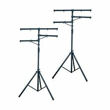 2 CHAUVET CH-02 7-12 Ft Adjustable Lighting Tripod Heavy Duty T-Bar Light Stands