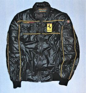 Vintage Style Auto Competition Ferrari Racing Jacket Black Size L