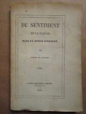 LAPRADE : LE SENTIMENT DE LA NATURE DANS LA POESIE D'HOMERE, 1848. Avec envoi.
