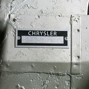 Chrysler Identification # Data Plate Serial Number ID Tag Muscle Car Dodge Mopar