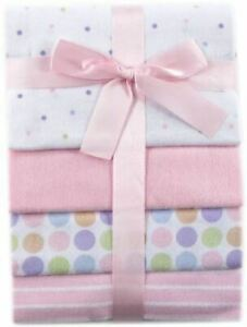 Luvable Friends Flannel Receiving Blankets, 4-Pack, Pink