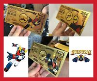 LOT 3 BILLET TICKET COLLECTOR FIGURINE GOLDORAK GRENDIZER ACTARUS CARTE GOLD OR