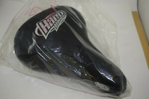 Haro seat saddle vinyl Mid school bmx grey / black white logo stamped 2001 NOS