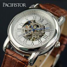 PACIFISTOR Mens Skeleton Mechanical Wrist Watch Steampunk Brown Leather Luxury