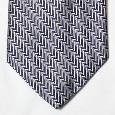NEW Geoffrey Beene Silk Neck Tie Silver Gray w Black Blue and Beige Patterns 271