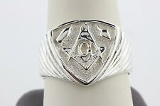 Sterling Silver Masonic Mason G Compass Plumb & Trowel Freemason Men's Ring - 11