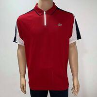 Lacoste Mens Sport Zip Neck Contrast Bands Pique Tennis Polo XS Fr 2 Blue Red