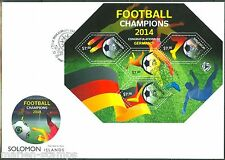 SOLOMON ISLANDS 2014 FOOTBALL CHAMPIONS GERMANY SHEET FIRST DAY COVER