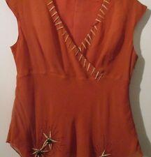 Pure Silk Wallis Orange adorned top size 16