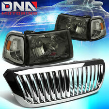 FOR 04-05 FORD RANGER SMOKED HEADLIGHT+AMBER CORNER LIGHT+CHROME GRILLE BEZEL