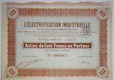 L ELECTRIFICATION INDUSTRIELLE LOUSTAU ET PETIT 100 FRANCS 1920